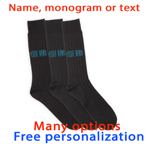 Personalised with Name and Date Property of Men/'s Black Socks