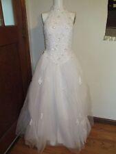 Davids Bridal white halter top princess gown wedding dress lace + beads size 4