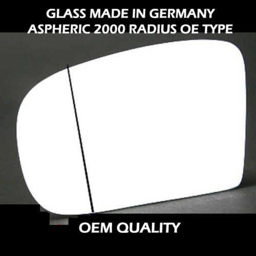 Mercedes S class wing Mirror Glass With Base-Heated,Silver,Aspheric,LH 1998-2005