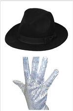 Men Ladies Michael Jackson Silver Sequin Glove Al Capone + Jazz Bowler Derby Hat