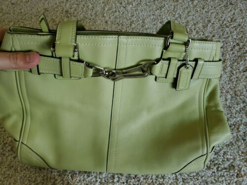 COACH Lime Green Leather Carryall Large Weekender