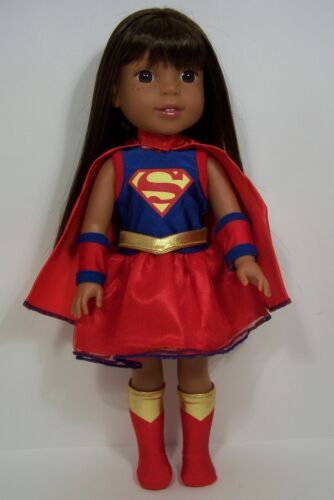 "Debs SUPERMAN Super Hero Costume w//SOCK-Boots For AG 14/"" Wellie Wishers Doll"