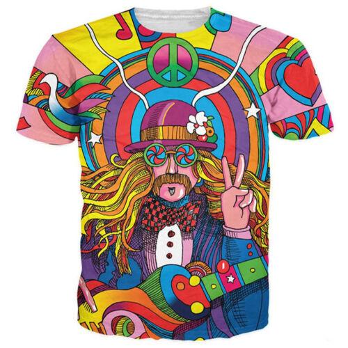 Women Men Fashion Hippie Musician Funny 3D Print Casual T-Shirt Short Sleeve Tee
