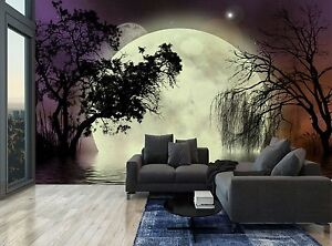 Image Is Loading Night Dark Forest Trees Moon Water Wall Mural