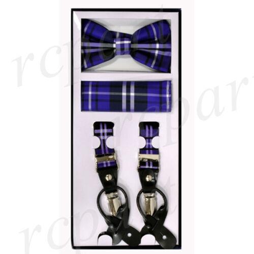 New Y back Men/'s Vesuvio Napoli Suspenders Bowtie Hankie Plaid Purple Black