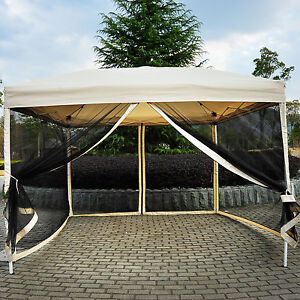 Outdoor Gazebo Canopy 10 X 10 Pop Up Tent Mesh Screen