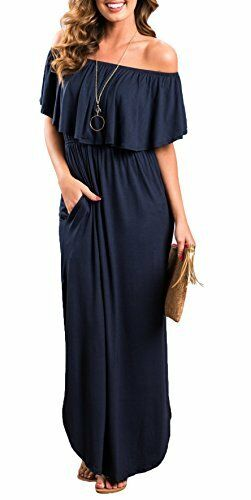 Womens Off the Shoulder Ruffle Party Dresses Side Split Beach Maxi Dress Navy S