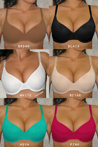 2405f314c9abe Image is loading VERY-SEXY-Lightly-Padded-Seamless-UNDERWIRE-PLUNGE-BRA-