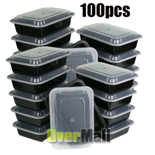 Reusable Microwavable Plastic BPA free 16oz Meal Prep Food Containers with Lids