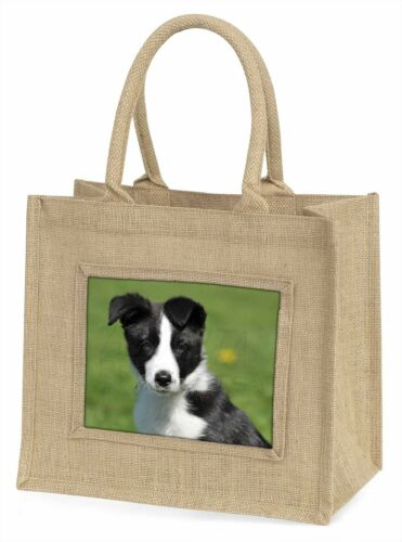 Border Collie Puppy Large Natural Jute Shopping Bag Christmas Gift I AD-BC17BLN