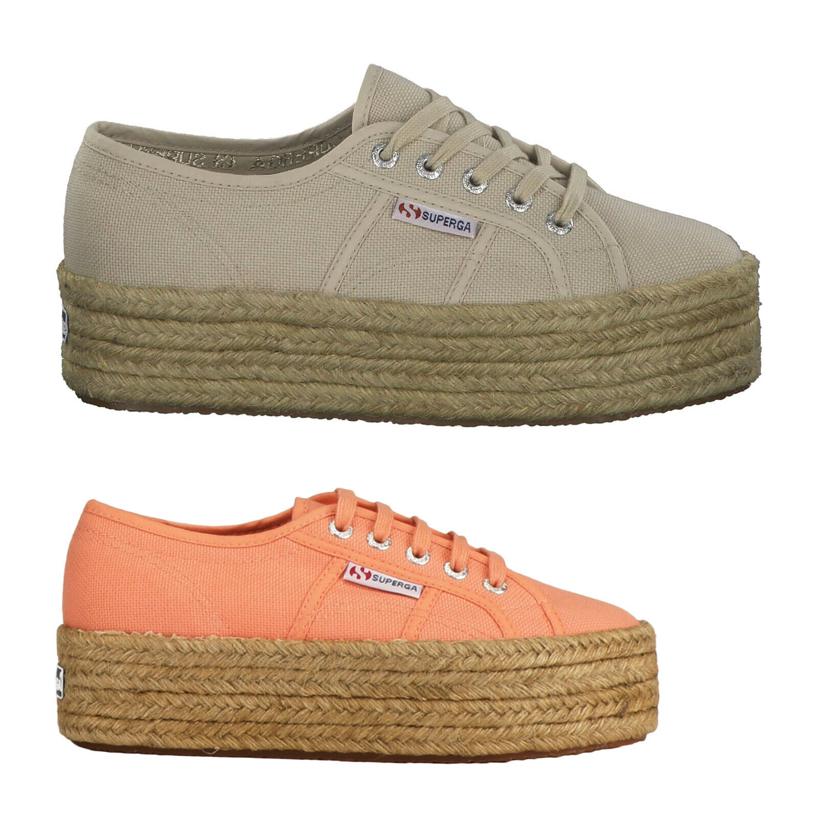 Superga 2790 cotropew Canvas Low-Top Lace-Up Platform femmes Entraîneur