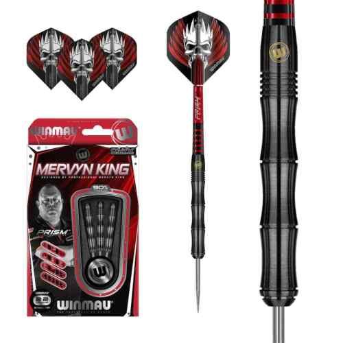 Winmau Mervyn King Steeldarts 22,24 gramm Black Darts 90/% Tungsten Dartpfeile