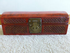 Antique Chinese red lacquer leather wood brass box long carved gilt lotus coin