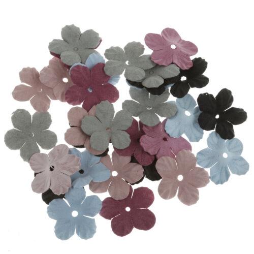 30Pcs Velvet Fabric Flower Appliques Scrapbooking Sewing DIY Craft Wedding Decor