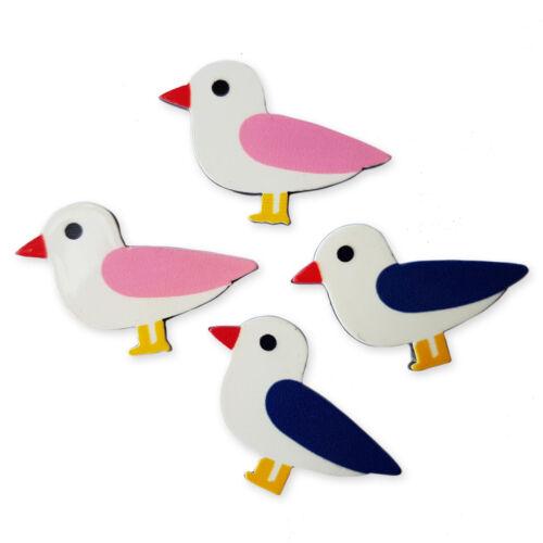 4pcs Sea Bird Arcylic Kawaii Flatback Cabochons Embellishment Decoden Craft