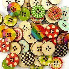 50pcs Bulk Mixed Round Shape Wood Flatback/Buttons Lots Sew Craft Cards 15mm