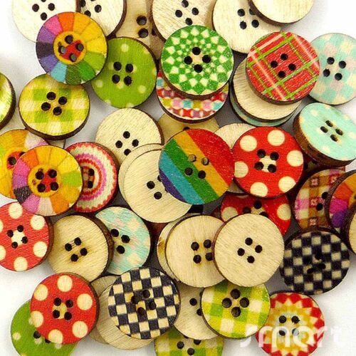 50pcs en vrac mixte forme ronde en bois Flatback Boutons//Lots Sew Craft cartes 15 mm