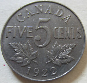 1922 Canada Five Cent Coin. NICE GRADE (RJ506)