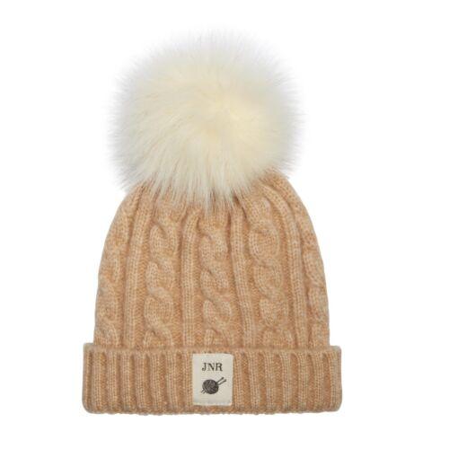 Aran Traditions Kids Winter Warm Knitted Faux Fur Pom Pom Beanie Bobble Hat