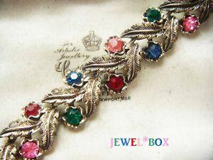 SIGNED-JEWELCRAFT-VINTAGE-DESIGNER-Harlequin-Jewel-Crystal-Rhinestone-BRACELET