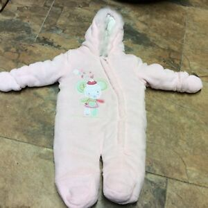 d4aa028755b9 F F baby girls THICK PADDED snowsuit age 6 9 months. soft fleece ...