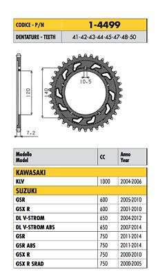 1-4499 - Corona Passo 525 Kawasaki 1000 Klv 2004 2005 2006 Il Prezzo Rimane Stabile