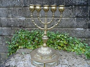 Antique-vintage-Jewish-Menorah-5-arm-candelabra-candlestick-brass-26-cm-tall