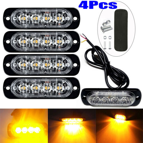 4x 4 LED luz estroboscópica Intermitente Rejilla de recuperación de color ámbar LIGHTBAR Camión Lámpara de baliza