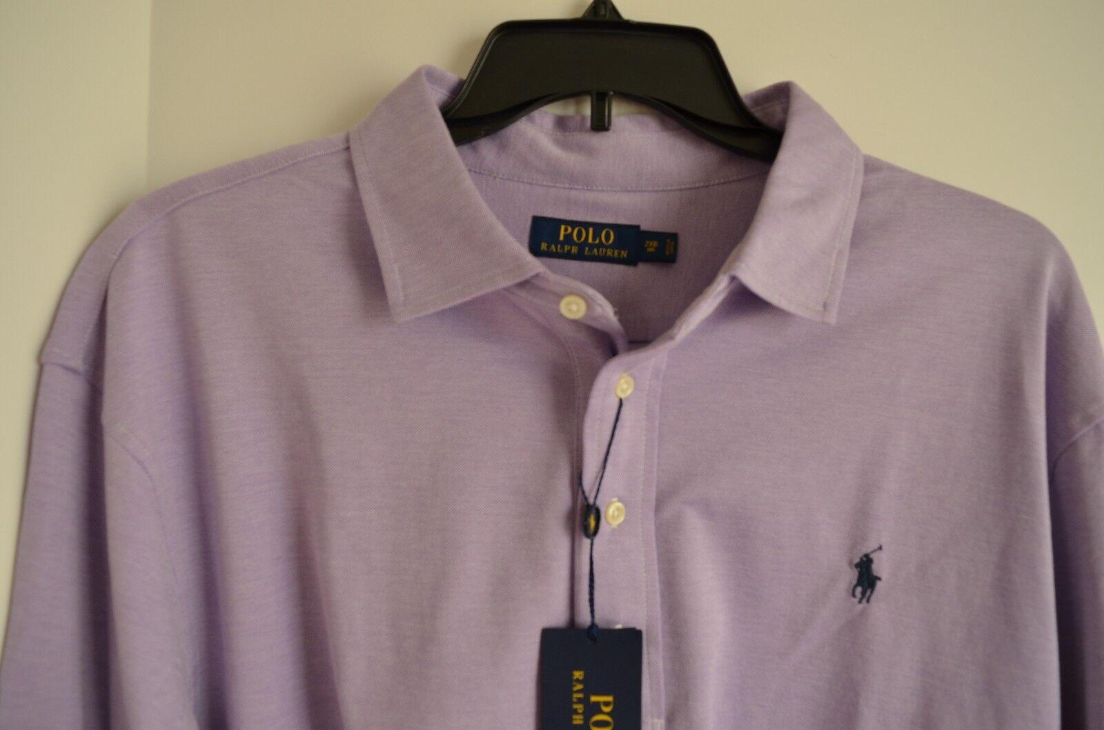 New Ralph Lauren POLO Men's PURPLE Long Sleeve Knit Shirt Size 2XB BIG NWT
