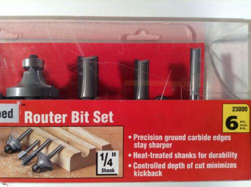 "Vermont American 23000 Carbide Tipped Router Bit Set 6 Pieces 1//4/"" Shanks"