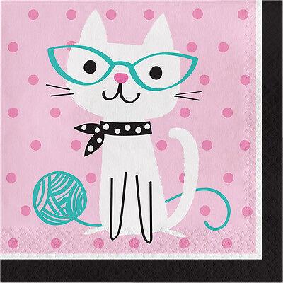 16 X Papel Fiesta Servilletas Purrfect Gato amantes de Gatos Fiesta Cumpleaños Servilletas