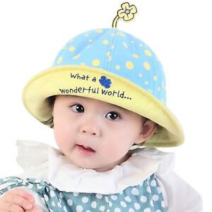 8bf199abf55 Summer Sun Hats Toddler Infant Baby Girls Wide Brim Beach Bucket Hat ...