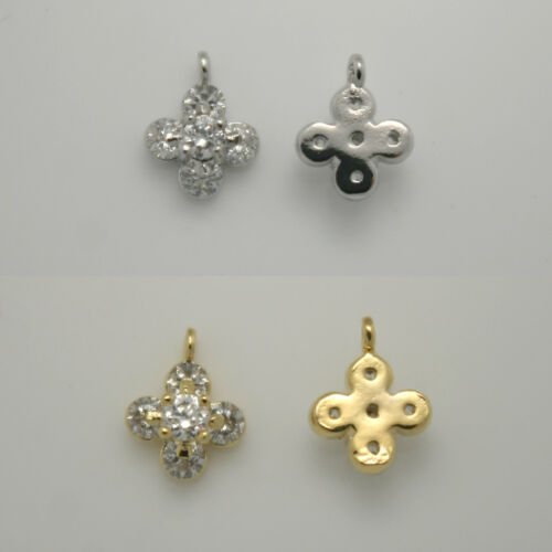 Silver Plated clover #096 Cross Rhinestone Metal Beads Pendants 16K gold plated