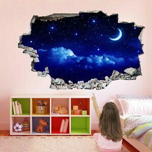 Luna y Estrellas Sky 3D Adhesivo Mural Calcomanía Pared Arte Decoración Hogar Cuarto de Niños GR16