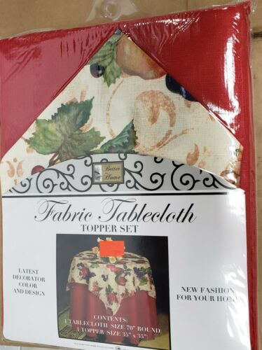 """BH 4-6 ppl FABRIC TABLE TOPPER SET Tablecloth 70/"""" ROUND red FRUITS ON BEIGE"""