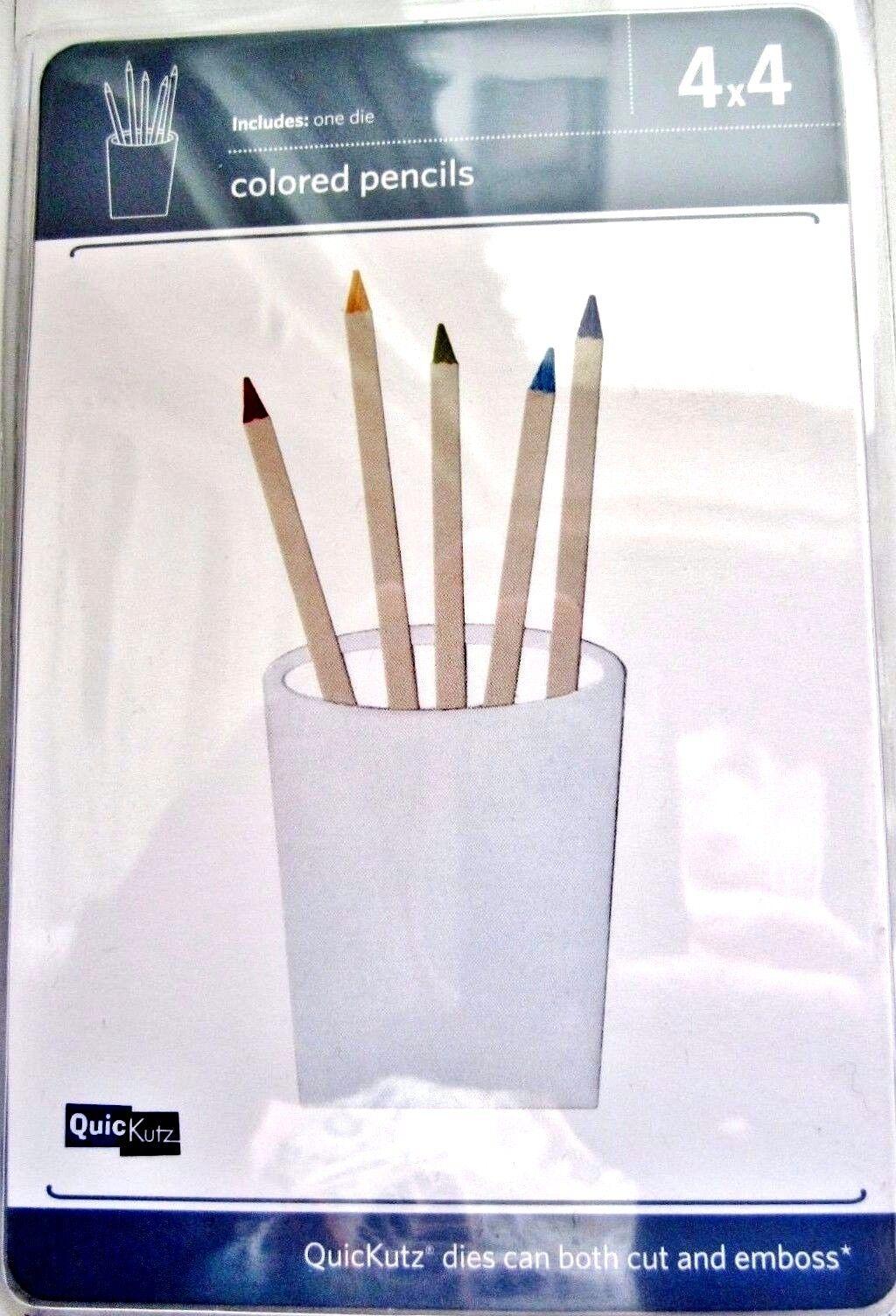 Art  REV-0318-S QuicKutz Lifestyle Crafts 4X4 Single Die COLORED PENCILS School