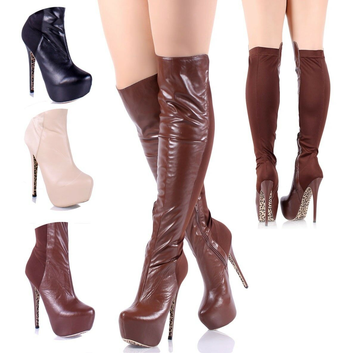 Sexy Faux Leather  Zip Open 6  High Heels femmes Fashion Knee-High bottes chaussures