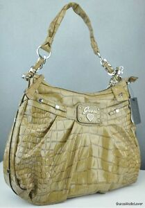 Nwt Handbag Borsa Guess Retro da Camel Totes Croc Authentic donna F4vFqHn