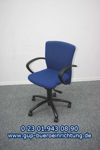 GSD128 Dauphin Bürodrehstuhl mit Armlehnen Bezug Stoff blau