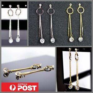 Brilliant-Cubic-Zirconia-Crystal-Dangle-Hoop-Bar-and-Chain-Geometric-Earrings