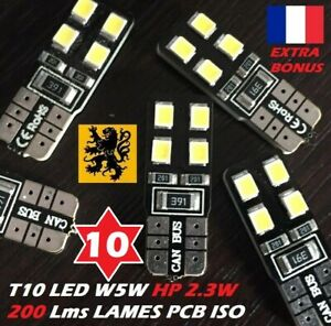 10-x-T10-W5W-LED-8-SMD-HP-200-Lm-BLANC-6000K-12V-2-3W-LAMES-PCB-ISO-COMPACT-180