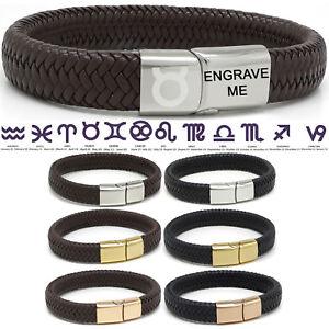 Any-Zodiac-bracelet-en-cuir-Personnalise-GRATUIT-Qualite-Premium-Acier