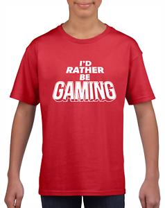 I'D RATHER BE GAMING KIDS T-SHIRT TEE PC GAMER GIFT FOR BOYS GIRLS CHILDREN TOP