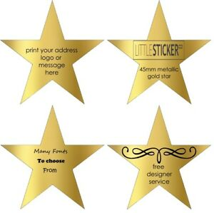 Details About Gold Star Stickers Invitation Personalised Labels Name Seals Customised 50