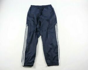 Vintage-90s-Adidas-Mens-Large-Spell-Out-Striped-Nylon-Joggers-Jogger-Pants-Blue