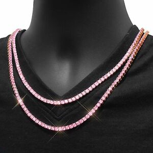 Pink Lab Diamond Tennis Necklace Choker Chain 4mm Iced Out
