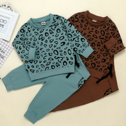 Infant Baby Girls Boys Leopard Print T-Shirt Sweater Coat Top Long Pants Outfits