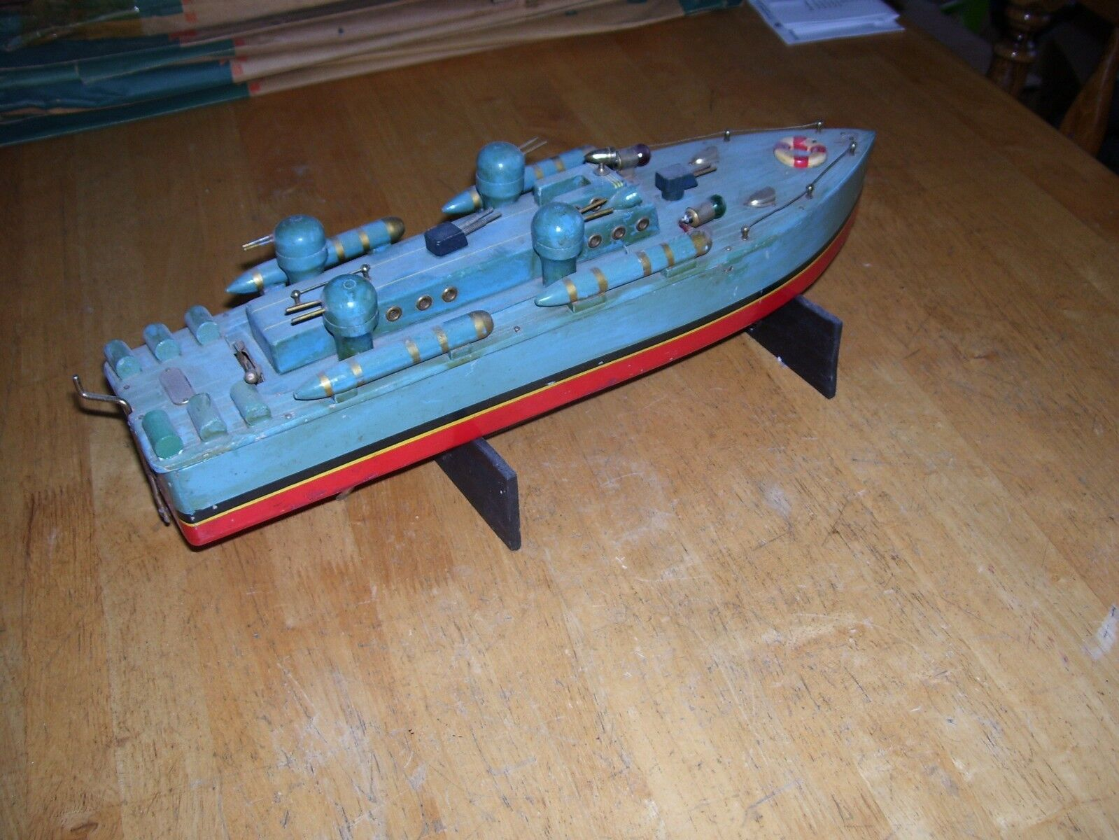 ITO Battle Ship TMY Motor Wooden Destroyer Pond Boat PT US Navy Battery Operated