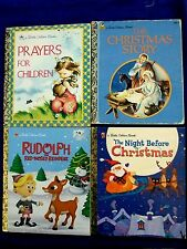 4 VINTAGE CHRISTMAS & PRAYERS COLLECTABLE GOLDEN BOOKS CHILDS AGE 3-8 CLEAN