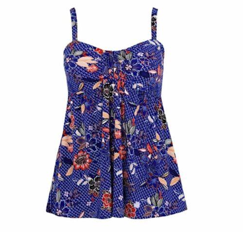 Plus Size 24 Cost £44 Evans Cobalt Floral Multiway Swimdress Swimsuit BNWT